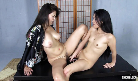 Cute Asian girls after tea, engaged in lesbian love
