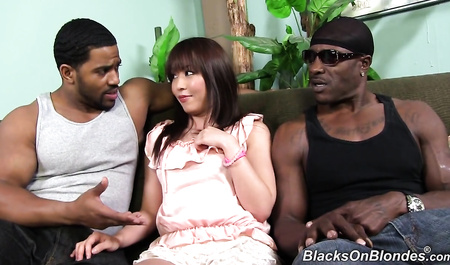 Fragile Japanese girl group sex fucked by two strong black guy