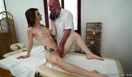 Grandpa masseur never misses one young body