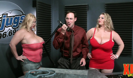 The guy is engaged in group sex with fatties at work