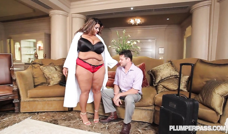 Fat lady with a married poet make love in the hotel room
