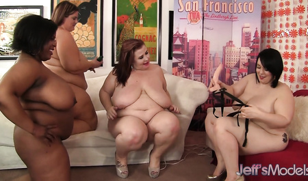 Fat girls engaged in group lesbian sex
