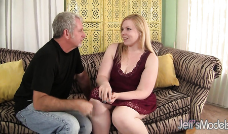 An elderly man shot and fucked cute fat blonde