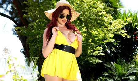 Red-haired chick summer shies in the ass with a neighbor at the cottage