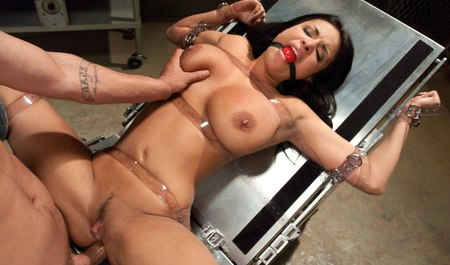 Hot brunette fuck with Amateur BDSM with gagged and hands tied