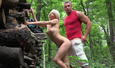 Filmed and fucked cute blonde in a forest
