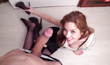 Young wife sucks off a cock of her husband