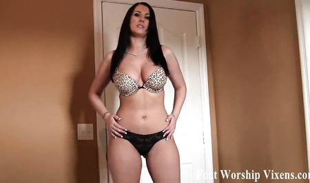 Black-haired wife Masturbates the penis of her husband feet