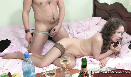 Guy banging a member of the sweet vagina of a drunk Russian woman