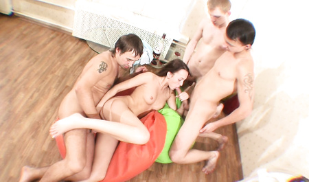 A mutual friend flogged with a bunch of drunk Russian guys in group sex