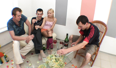 Russian guys fuck young sobutylnitsa in group sex