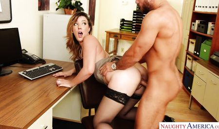 Secretary in black stockings is engaged with a chef passionate sex