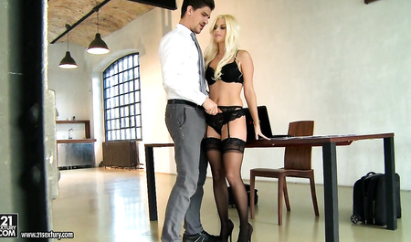 CIV Secretary in black stockings takes in the ass big cock