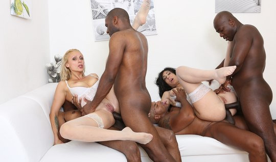 Two beautiful milfy have fun anal Fisting and stormy Orgy with blacks