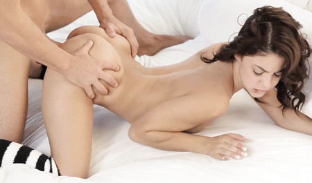 Skinny brunette morning fuck with a favorite guy
