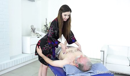 The old man tore the girl from Belarus on the couch during the massage