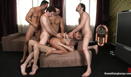 Local guys fucking in all holes brunette in the genre Gangbang