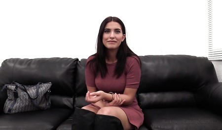 Beautiful brunette fuck with agent on the leather sofa first time in my life