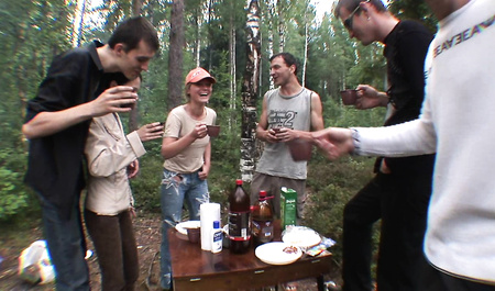 Young Chicks fucking on the wild nature on the occasion of the birthday of the guy