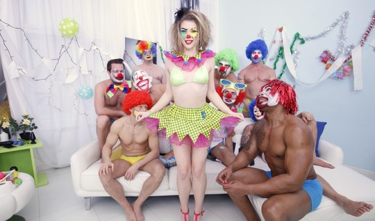 A gang of clowns headed by a black man ploughing the lush clowness in Gangbang with double penetration
