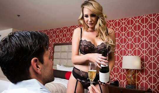 Sex young man with a beautiful woman-blonde escorts