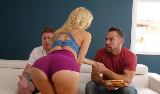 Man husband spanking Busty blonde while his friend cut the game on the console