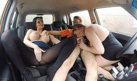 Three lovers having fun in car sex