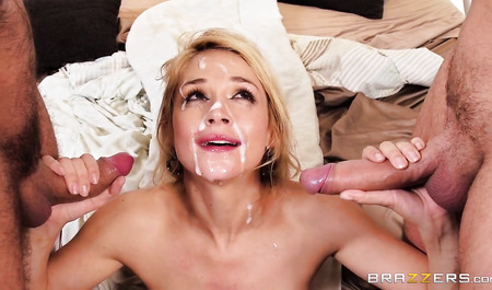 Beautiful blonde gets double penetration during a home sale