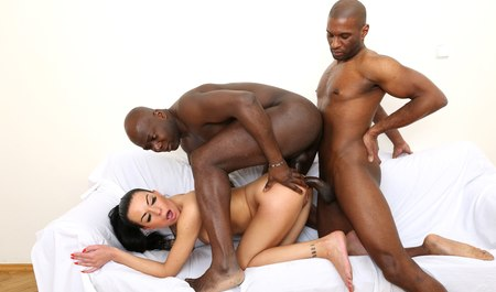Double penetration black guys with cute brunette