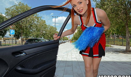 Russian beauty Eva is doing Blowjob in car and Fucks in the backseat