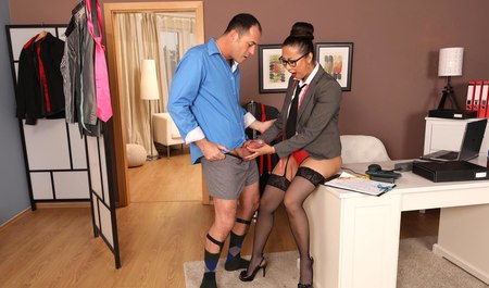 The boss of the firm shies cute Asian chick tailor
