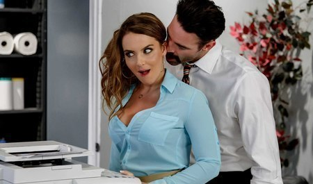 Mustachioed boss introduced his cock with a new employee Natasha