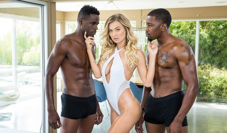 Two African guy with a strong members nail the hot blonde in Gangbang