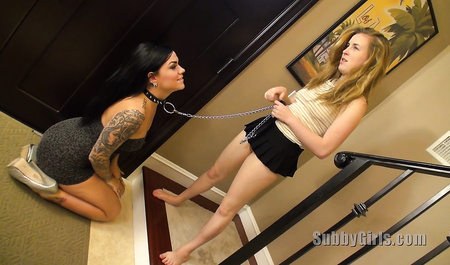 Young lesbian dominates her older friend
