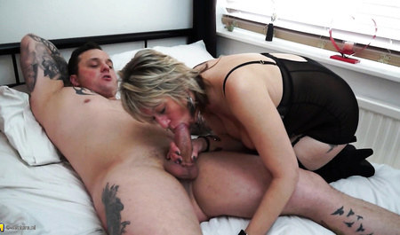Mature plump Mature sawn with the Director of dining at his house