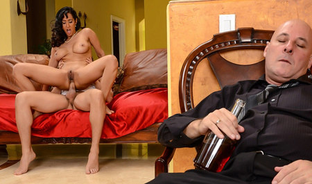 Hot brunette cheating Mature drinker with his young friend