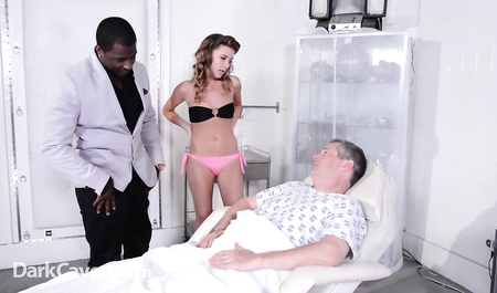 Beautiful wife Fucks with a black man in the eyes of a sick husband